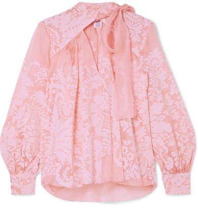 Flocked Silk-organza Blouse - Pink