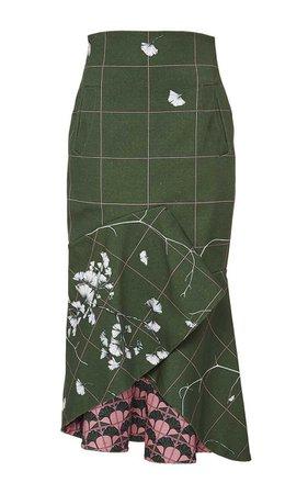 Johanna Ortiz Ivory Midi Skirt In Green