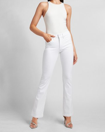 Mid Rise White Bootcut Jeans