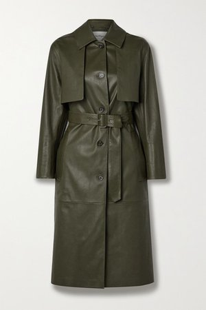 Paneled Leather Trench Coat - Army green