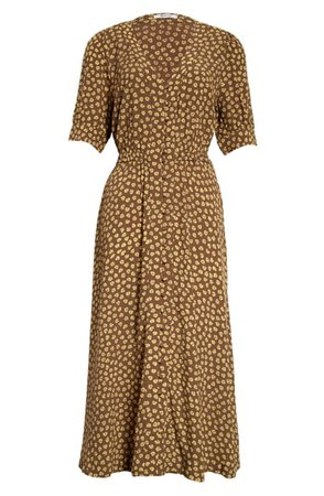 Madewell Woodcut Flowers Button Cuff Midi Dress | Nordstrom