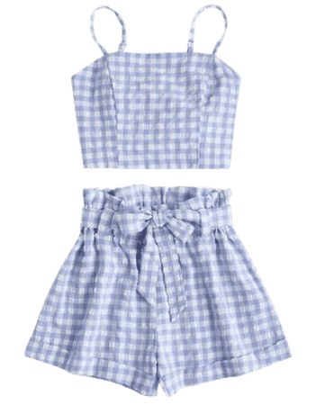 Blue checkered outfit