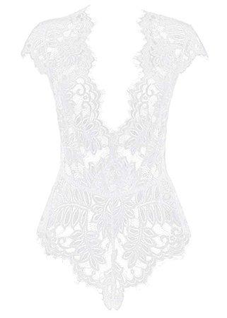 AvaLolita Women's Lingerie Floral Lace Bodysuit Deep V Babydoll M White at Amazon Women's Clothing store