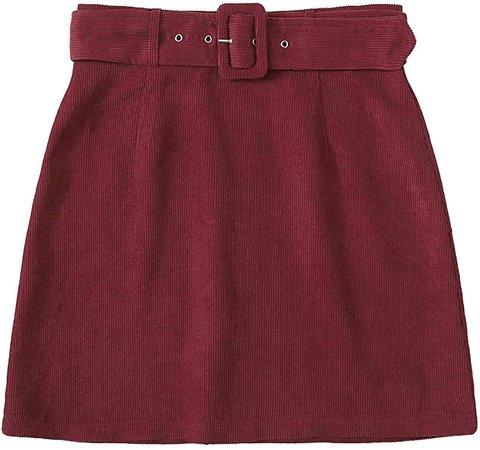 WDIRARA Women's Elegant Adjustable Buckle Belted Corduroy Mini A Line Skirt Burgundy