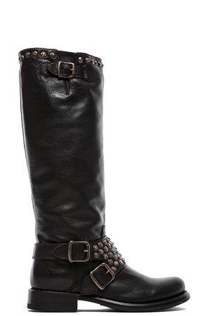 Frye Jenna Studded Tall Boot in Black   REVOLVE