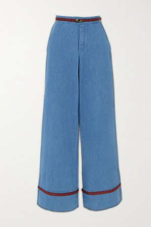 Blue Braided high-rise wide-leg jeans | Gucci | NET-A-PORTER