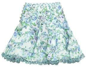 Whitewave Button-embellished Floral-print Linen And Silk-blend Mini Skirt