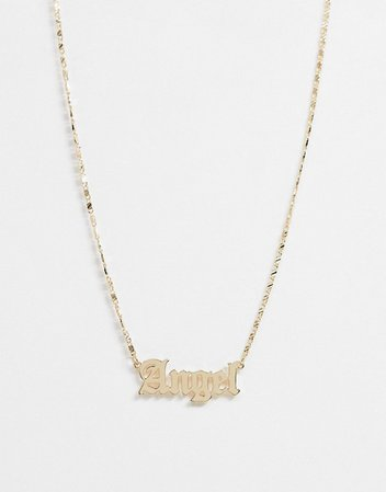 ASOS DESIGN necklace with angel gothic font in gold tone | ASOS