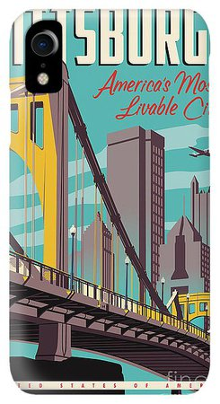 Pittsburgh Poster - Vintage Travel Bridges IPhone XR Case for Sale by Jim Zahniser