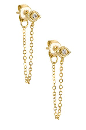 SHASHI Violet Chain Earrings in Gold | REVOLVE