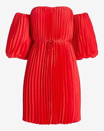 Pleated Belted Off The Shoulder Trapeze Dress | Express