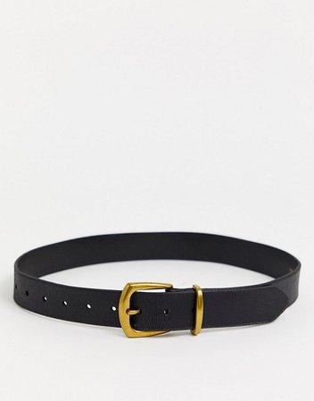Topshop leather belt with gold buckle in black | ASOS