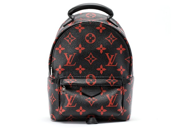 Louis Vuitton Backpack Palm Springs Monogram Infrarouge Mini Black Red