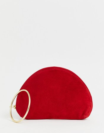 ASOS DESIGN suede half moon clutch bag with wristlet ring detail | ASOS