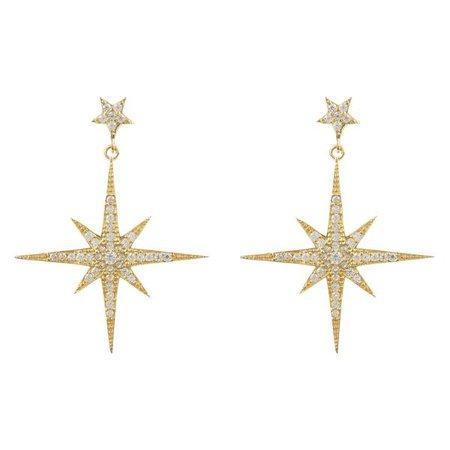 Earrings   Shop Women's Black Sterling Silver Star Butterfly Drop Earring at Fashiontage   5054469031117