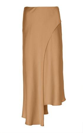 Asymmetric Satin Midi Skirt by Sally LaPointe | Moda Operandi