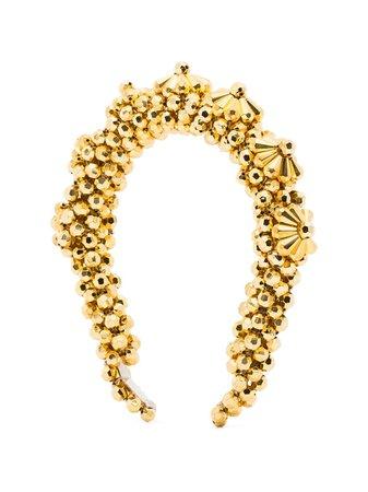Shrimps Blaze Flower Beaded Headband BLHBGOLD12SH Gold | Farfetch