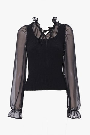 Trumpet-Sleeve Combo Top   Forever 21