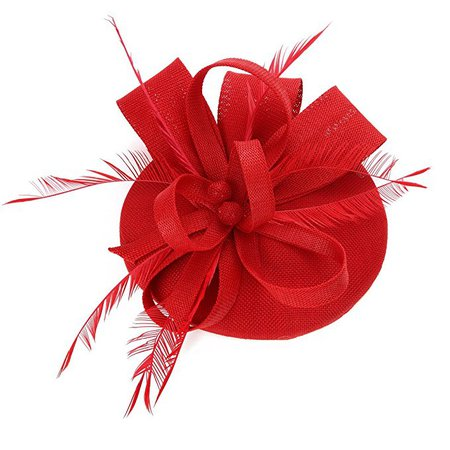 Sinamay Feather Fascinators Womens Pillbox Flower Derby Hat for Cocktail Ball Wedding Church Tea Party Red at Amazon Women's Clothing store: