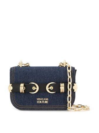 Versace Jeans Couture Double Buckle Denim Crossbody Bag E1VVBBN271415 Blue   Farfetch