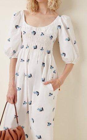 Veneto Smocked Embroidered Cotton Midi Dress By Ciao Lucia   Moda Operandi