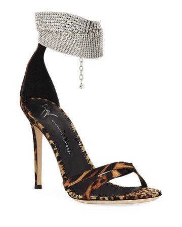 Giuseppe Zanotti Animal-Print Silk Sandals with Crystal Strap | Neiman Marcus