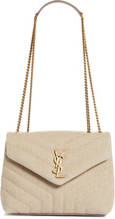 Small Loulou Matelasse Linen Shoulder Bag