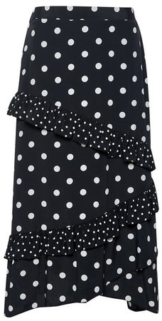 Black Polka Dot Print Midi Skirt