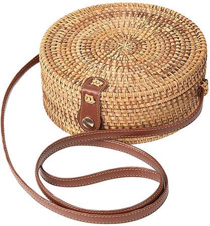 Round Rattan Bag for Women Straw Bag Handwoven Beach Bohemian Shoulder Purse by Enmain: Handbags: Amazon.com