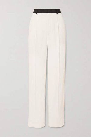 Grosgrain-trimmed Twill Wide-leg Pants - White