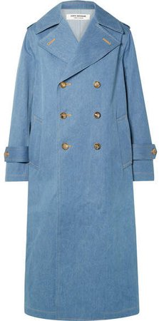 Double-breasted Denim Trench Coat - Blue