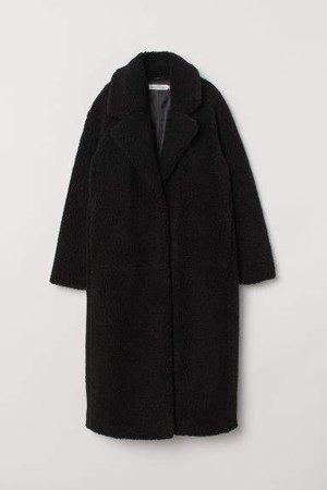 Long Pile Coat - Black
