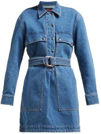La Fetiche - Betty Belted Denim Mini Dress - Womens - Indigo
