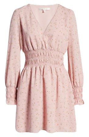 WAYF Delancy Smocked Waist Long Sleeve Minidress | Nordstrom