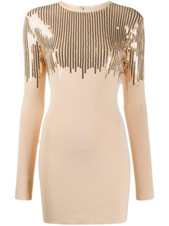 Neutral David Koma Sequined Mini Dress | Farfetch.com