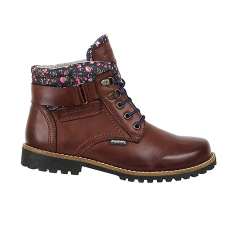 Amazon.com   Discovery EXPEDITION Womens Leather Floral Print Outdoor Backpacking Trek Hiking Boots Cognac 10   Snow Boots