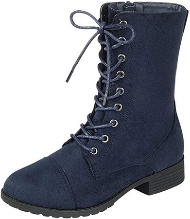 Amazon.com | Forever Link Womens Round Toe Military Lace up Knit Ankle Cuff Low Heel Combat Boots, Camouflage, 9 | Ankle & Bootie
