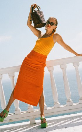 Prado Linen Split Midi Skirt by Simon Miller | Moda Operandi
