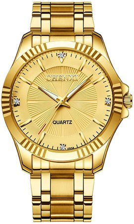 Amazon.com: Gold Stainless Steel IP Plated Men's Business Wrist Watches for Male with Crystals: DREAMING Q&P: Clothing