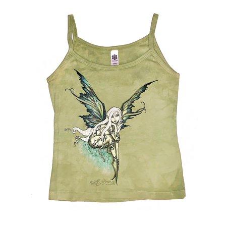 Vinty y2k / 00s Goth Fairy tank top🧚♀️ Light Green bod... - Depop