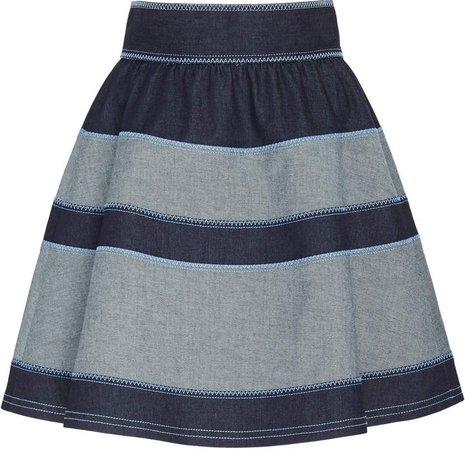 Striped Stretch-Denim Mini Skirt