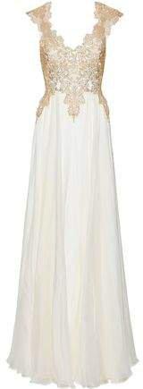 Klara Open-back Metallic Lace-paneled Silk-chiffon Gown