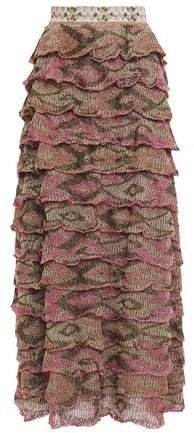 Tiered Metallic Crochet-knit Maxi Skirt