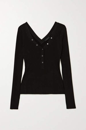 The Range - Division Ribbed Stretch-jersey Top - Black
