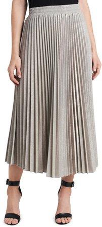 Metallic Sparkle Pleated Skirt