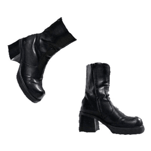 90s Black Boots PNG