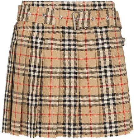 Carmen pleated checked mini skirt