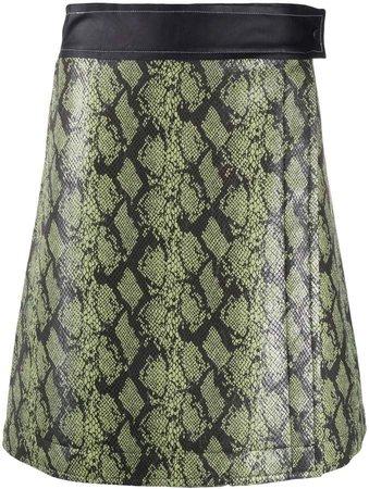 snakeskin-effect A-line skirt