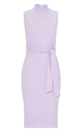 Lilac High Neck Tie Waist Midi Dress | PrettyLittleThing USA