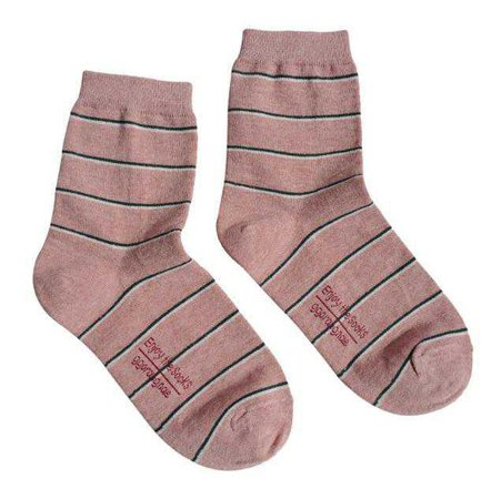 itGirl Shop | AESTHETIC THIN LINES PINK GREEN COTTON ANKLE SOCKS